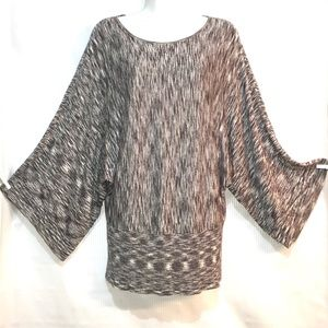 CHICO'S Dolman Sleeve Black White Shimmer Sweater